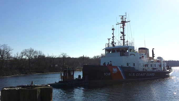 USCG Thunder Bay departs Coast Guard Yard