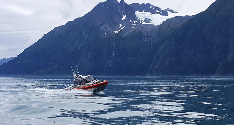 A boat crew from Station Valdez, Alaska, conducts underway training