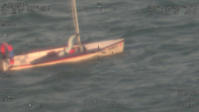 Sailboat image from the HC-130J Super Hercules' Minotaur-integrated sensors overlaid with other data, as seen on the mission system operator workstation.
