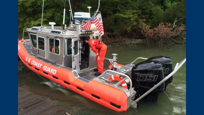 Coast Guard researchers test diesel outboard engines on a response boat-small. U.S. Coast Guard photo.