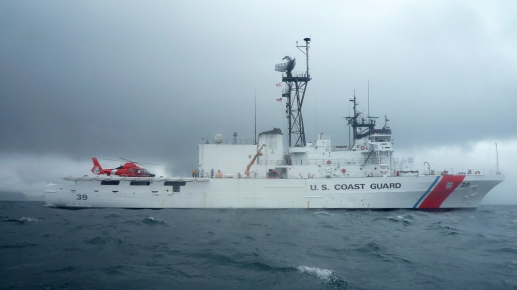 MH-65 in action by Coast Guard Cutter Alex Haley