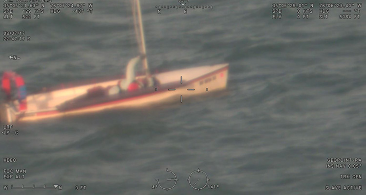 Sailboat image from the HC-130J Super Hercules' Minotaur-integrated sensors overlaid with other data.